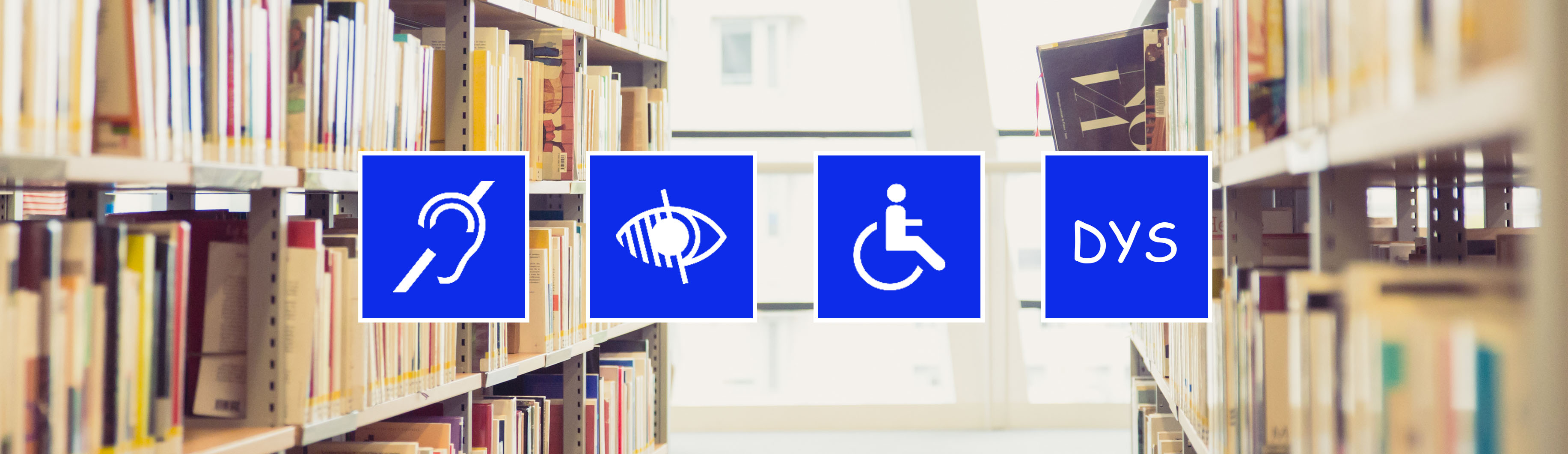 Bandeau avec quatre pictogrammes handicap