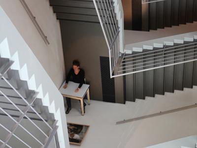 Photo de l'Escalier de la Bibliothèque avec un jeu de perspective